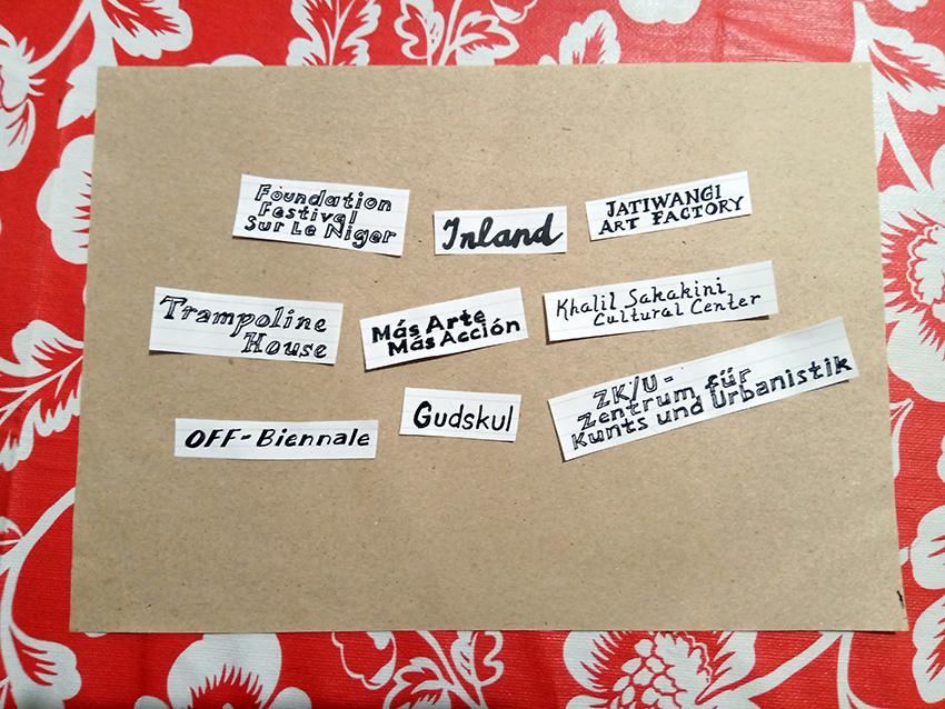 Die Namen der ersten lumbung member in Handlettering-Schrift