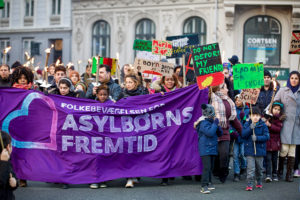 Fackelzug, organisiert vom Trampoline House, initiiert von People's Movement for Asylum-seeking Children's Future, Kopenhagen, 2017