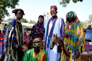 Mamou Daffé and his fellow Kôrèdugaw during the opening ceremony of Ségou 'Art - Festival sur le Niger 2021
