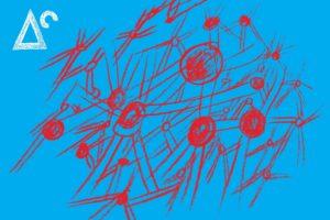 Eine Zeichnung. Rote Formen auf blauem Grund.