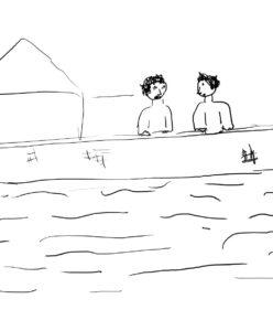 Eine Zeichnung mit einfachen Strichen zeigt zwei Menschen an einem Haus, am Wasser.