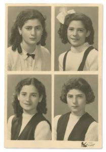 Vier Portraits auf altem verblichenen Fotopapier.