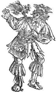 Eine emblematische Zeichnung aus dem 16. Jahrhundert in schwarz-weiß zeigt einen älteren, verwirrten Herrn der ein Nest und einen Vogel auf dem Kopf hat und mit einem Besen versucht fliegende Insekten von sich abzuwenden.