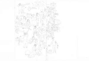 A black and white drawing of people in everyday situations.